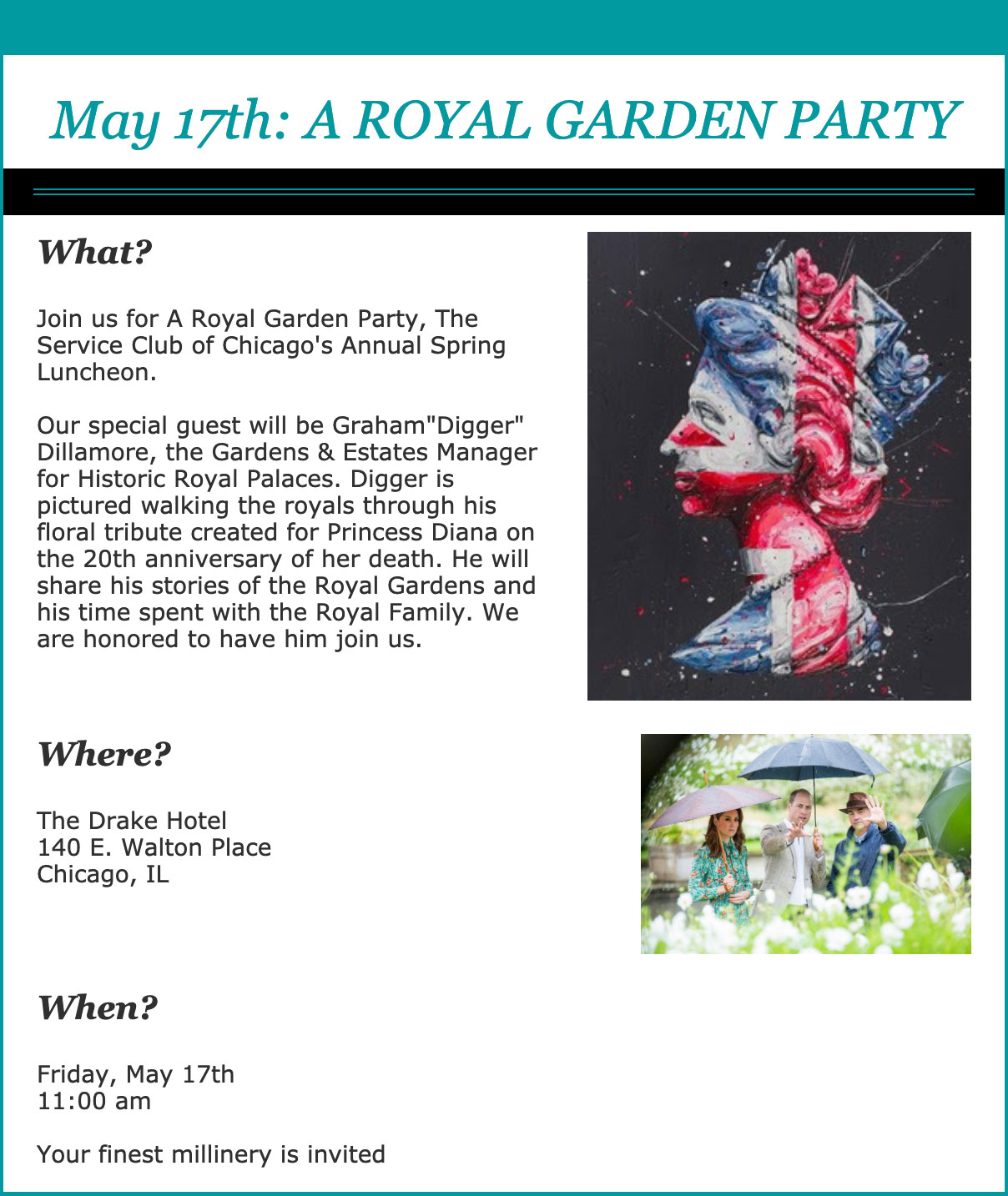 2019 Spring Luncheon Invitation - Royal Garden Party